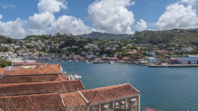 the carenage of st. george's from elevated position, grenada, windward islands, west indies, caribbean, central america - st. george's grenada stock videos and b-roll footage