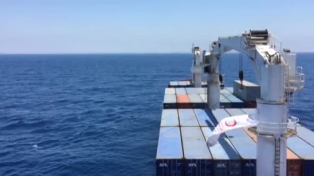 """the cargo ship named """"lady leyla"""" is seen on its way to port of ashdod as turkish government sends humanitarian aid to gaza after turkish-israeli... - july stock videos & royalty-free footage"""