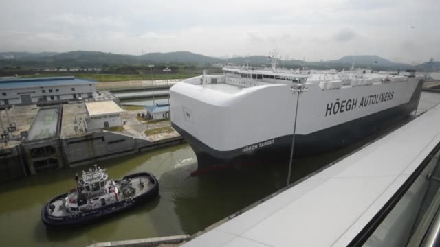 The cargo ship vessel Hoegh Target the largest transporter of vehicles in the world transited through the new Panama Canal locks in Cocoli near...