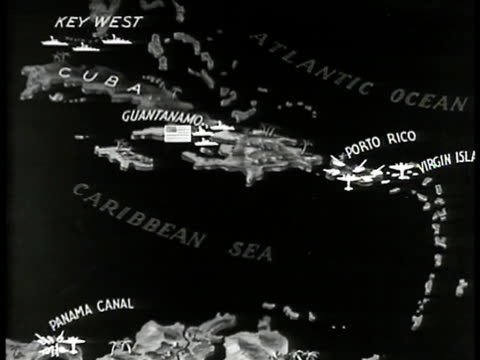 the caribbean area w/ warship locations highlighted in key west, guantanamo, porto rico, us virgin islands, panama canal. - guantanamo bay stock videos & royalty-free footage