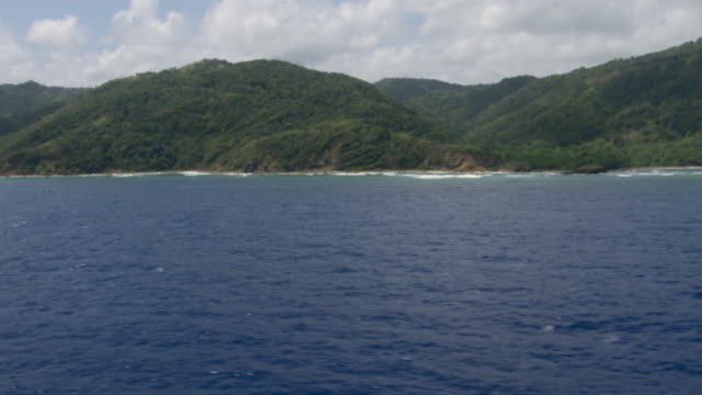 The Caribbean Sea stretches along a forested coastline in Jamaica.