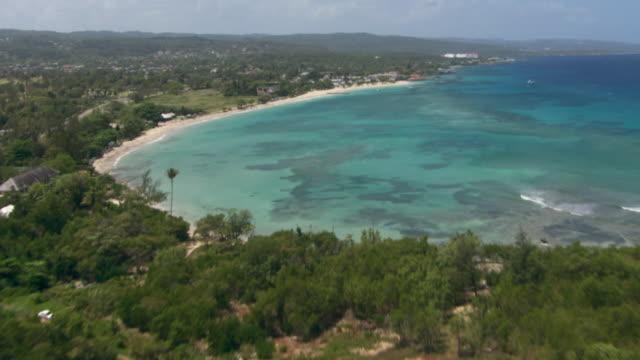 The Caribbean Sea washes up along the coastline of Jamaica.