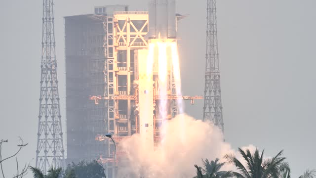the carrier rocket long march-8 blasts off from the wenchang space launch center on december 22, 2020 in wenchang, hainan province of china. - space vehicle stock videos & royalty-free footage