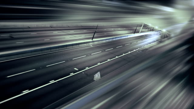 the car's light trails on the street long exposure - reflector stock videos & royalty-free footage