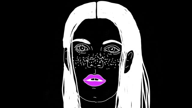 the cartoon animation of surreal women face at black background - human face drawing stock videos & royalty-free footage