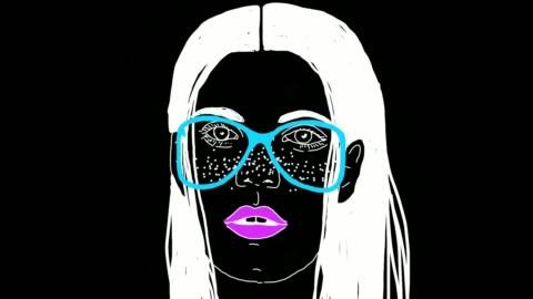 vídeos y material grabado en eventos de stock de la animación de dibujos animados de cara de las mujeres surrealistas en fondo negro - arte