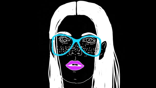 the cartoon animation of surreal women face at black background - outline stock videos & royalty-free footage