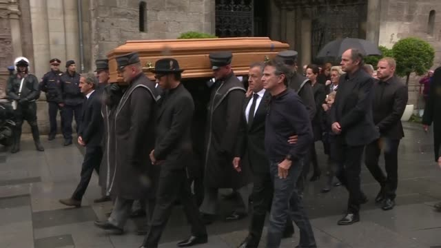 the casket of formula one legend and austrian national hero niki lauda is brought out of vienna's landmark cathedral after a funeral ceremony... - traditionally austrian stock videos & royalty-free footage