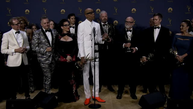 the cast and crew of rupaul's drag race in the press room after winning an emmy award for outstanding reality or reality-competition program in 2018. - emmy awards stock videos & royalty-free footage
