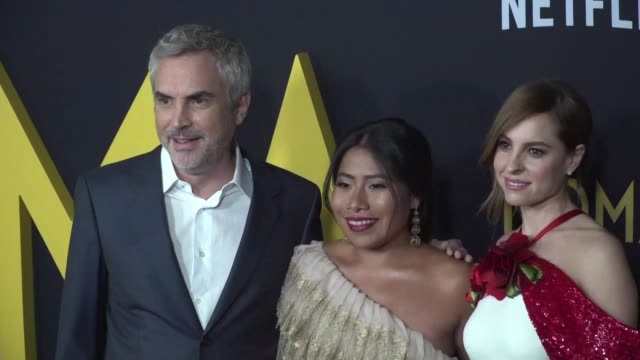 the cast and crew of the film roma attend the premiere in los angeles - alfonso cuaron stock videos & royalty-free footage