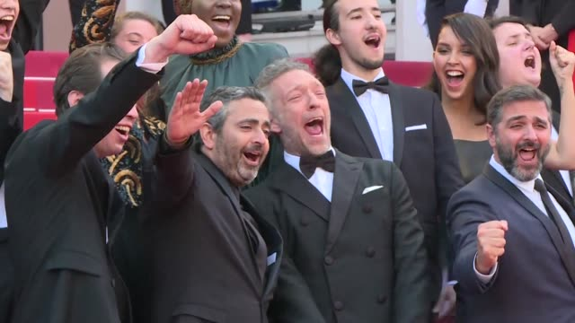 the cast and director of the closing film of the 72nd cannes film festival hors normes arrive on the red carpet - 72nd international cannes film festival stock videos and b-roll footage