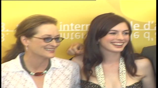 the cast attends a photocall to promote the film 'the devil wears prada' during the 63rd venice film festival on september 7 2006 in venice italy - photo call stock videos & royalty-free footage