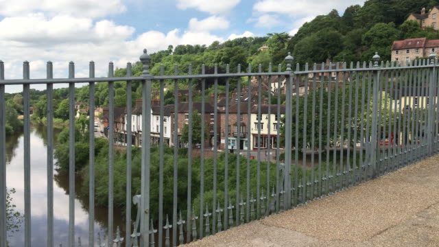 the cast iron bridge over the river severn gorge. - river severn stock videos & royalty-free footage
