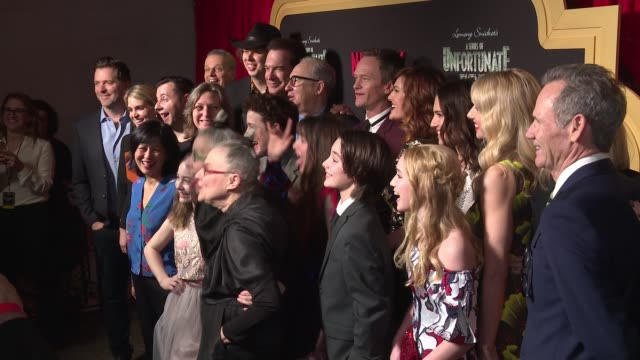 "the cast of ""a series of unfortunate events"" at netflix premieres ""a series of unfortunate events"" season 2 at metrograph on march 29, 2018 in new... - patrick warburton stock videos & royalty-free footage"