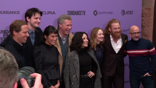"the cast of downhill at the ""downhill"" sundance premiere presented by searchlight pictures sundance film festival at eccles center theatre on january... - sundance film festival stock videos & royalty-free footage"