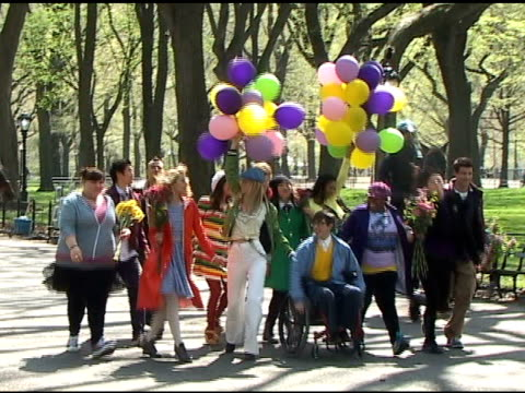 the cast of 'glee' shoots a dance number for the season finale in central park in new york 04/26/11 at the celebrity sightings in new york at new... - cast member stock videos & royalty-free footage