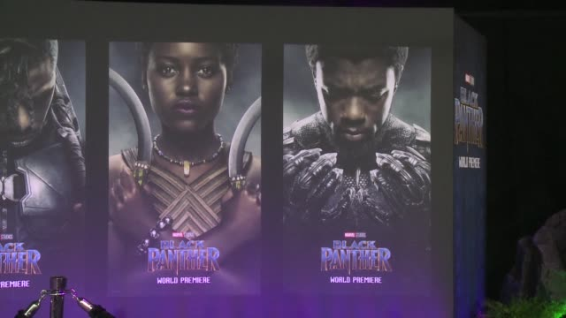 the cast of marvel studios latest film black panthers arrive in los angeles for the red carpet premiere - cast member stock videos & royalty-free footage