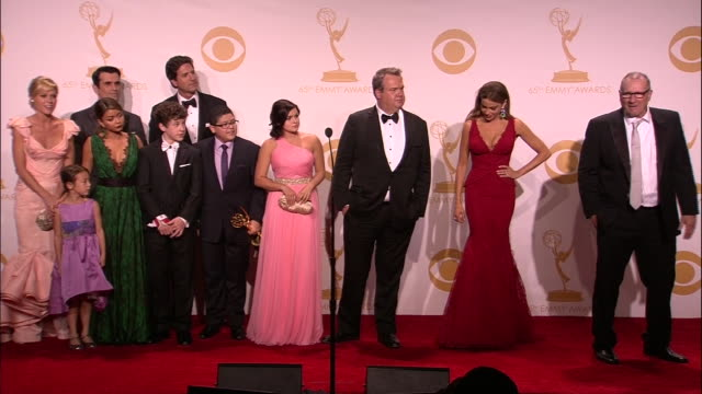 the cast of modern family is on stage after winning a 2013 emmy award. - emmy awards stock videos & royalty-free footage
