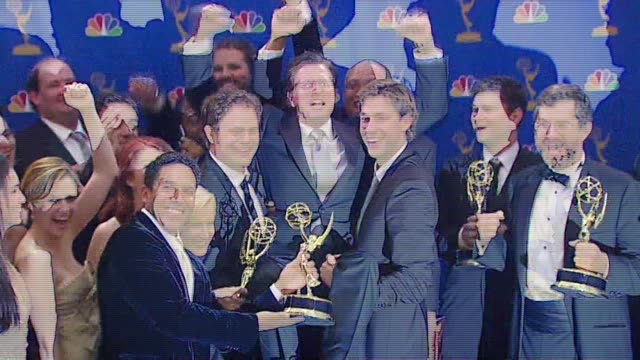 the cast of 'the office' winner outstanding comedy series at the 2006 emmy awards press room at the shrine auditorium in los angeles california on... - cast member stock videos & royalty-free footage
