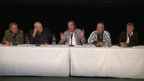 vídeos de stock, filmes e b-roll de the cast on apprehension over the audience at the monty python press conference, on 30th june 2014 in london, england - monty python