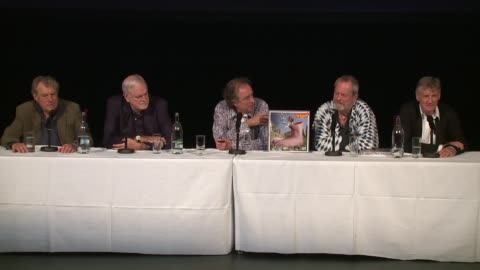 vídeos de stock, filmes e b-roll de the cast on the germans at the monty python press conference, on 30th june 2014 in london, england - monty python
