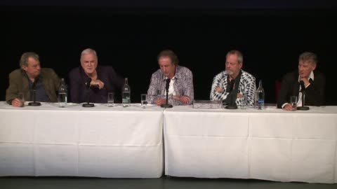 vídeos de stock, filmes e b-roll de the cast on the popular sketches and audience objectivity at the monty python press conference, on 30th june 2014 in london, england - monty python