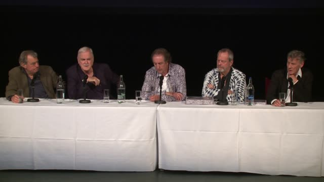 interview the cast on the popular sketches and audience objectivity at the monty python press conference on 30th june 2014 in london england - john cleese stock videos & royalty-free footage