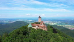 The Castle of Upper Koenigsbourg and the plain of Alsace in the background