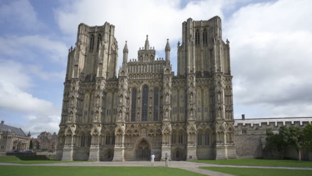 the cathedral church of saint andrew, know also as wells cathedral, somerset, uk - wells cathedral stock videos & royalty-free footage