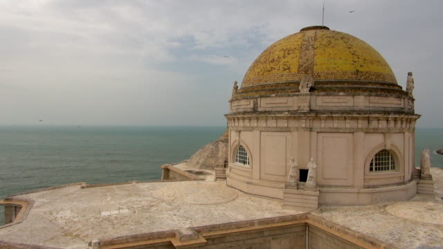 the cathedral dome and ocean of cadiz spain - cádiz stock videos and b-roll footage