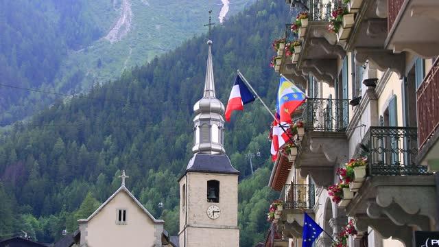 the catholic church saint bernard du mont blanc at the famous winter sports resort of chamonix located at the foot of the mont blanc massif on june... - ski resort stock videos & royalty-free footage
