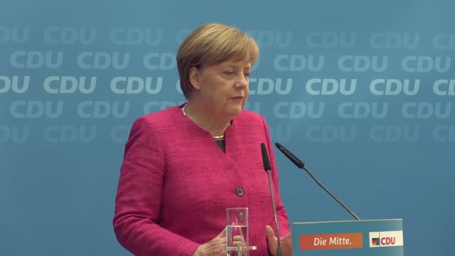 The CDU top candidate of the state elections in NorthRhine Westfalia Armin Laschet and German chancellor and CDU federal chairwoman Angela Merkel...