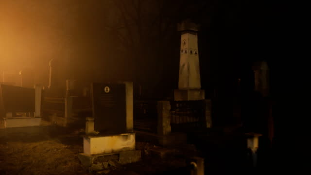 the cemetery at night.horror scene - cemetery stock videos & royalty-free footage
