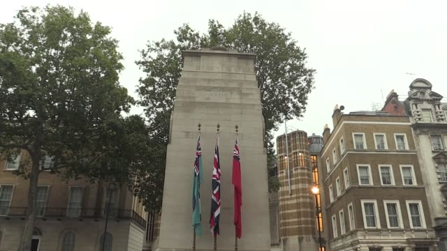 the cenotaph on whitehall in central london on vj day ahead of defence secretary ben wallace laying a wreath there to commemorate veterans and... - war veteran stock videos & royalty-free footage