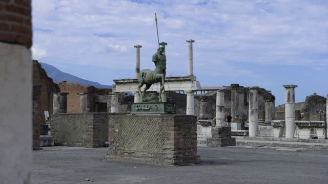 the centaur statue at the forum of pompeii on july 19, 2021 in pompeii, italy. the famous tourist attraction has been closed for months due to the... - ghost town stock videos & royalty-free footage