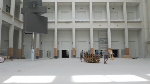 the central entrance hall of the humboldt forum stands under construction on june 17 2019 in berlin germany the humboldt forum will occupy the... - berliner stadtschloss stock-videos und b-roll-filmmaterial