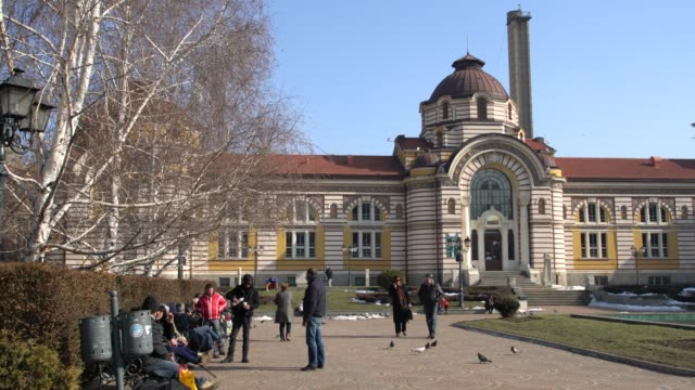 the central mineral bath, an intersting landmark in the center of sofia, bulgaria - 新古典派点の映像素材/bロール