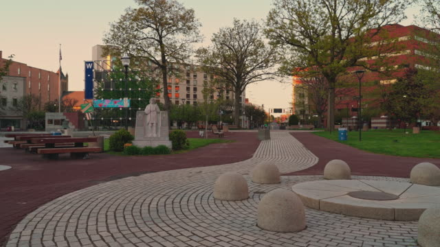 wilkesbarre pennsylvania usa may 16 2020 the central public square in wilkesbarre pennsylvania is deserted on a warm sunny evening because of the... - wilkes barre stock videos & royalty-free footage