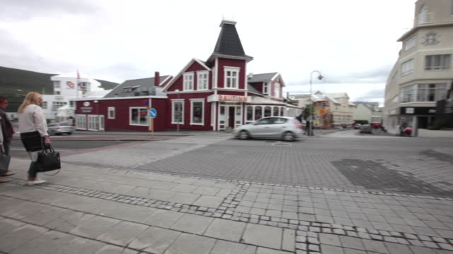 The central street of the town of Akureyri, Iceland