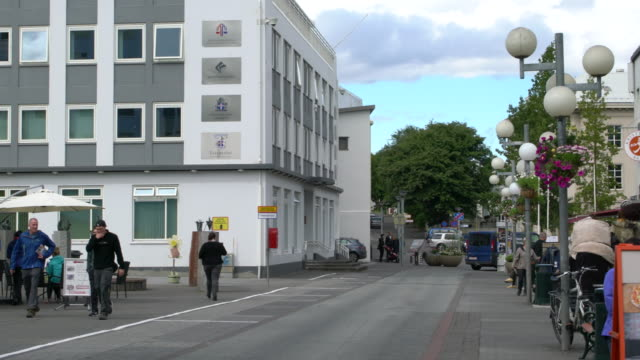 The central street of the town of Akureyri in Northern Iceland