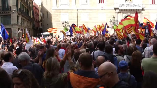 the centre right pro union ciudadanos party which was born out of opposition to catalan separatism holds a rally in front of catalonia's regional... - separatism stock videos & royalty-free footage