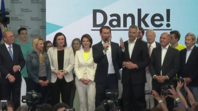 vídeos de stock, filmes e b-roll de the centreright people's party of austrian chancellor sebastian kurz is on course for gains in the european parliament elections with the farright... - austrian culture