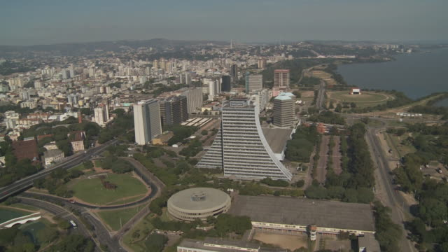 The Centro Administrativo and other office buildings line the coast of Porto Alegre, Brazil.