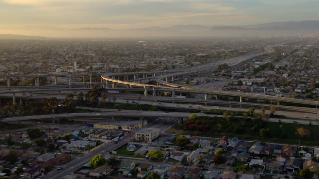 The Century Freeway and the Harbor Freeway intersect in a complicated five stack interchange in South Los Angeles.