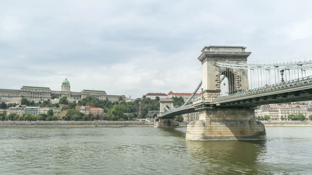 the chains bridge with a busy day of the weekend with a traveler, traffic jam and transportation in budapest, hungary, timelapse low angle view - széchenyi chain bridge stock videos & royalty-free footage