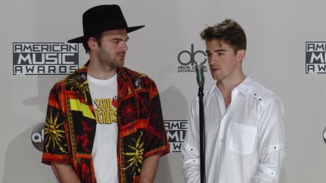 interview the chainsmokers on the event at 2016 american music awards in los angeles ca - american music awards stock videos and b-roll footage