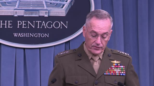 the chair of the joint chiefs of staff general joseph dunford gives his update on the fight against the islamic state at the beginning of a pentagon... - joint chiefs of staff stock videos and b-roll footage