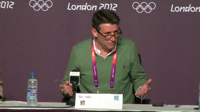 vídeos de stock, filmes e b-roll de the chairman of the london olympics, sebastian coe, insisted on sunday that most venues were full of spectators as organisers launched a probe into... - sebastian coe
