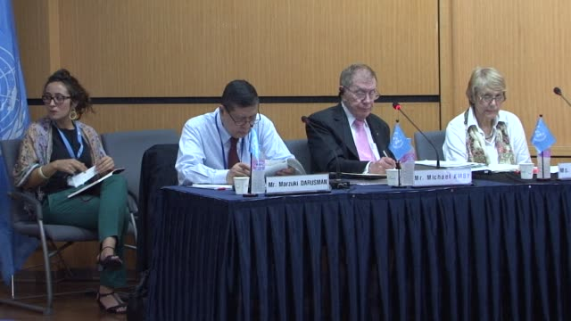 the chairman of the un commission of inquiry into human rights in north korea tells afptv that witness after witness recounts tales of the pain of... - ordförande bildbanksvideor och videomaterial från bakom kulisserna