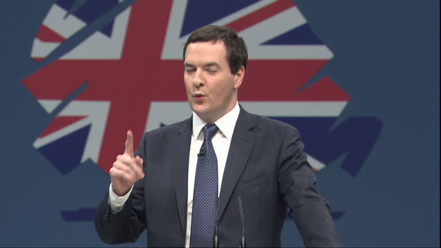 the chancellor george osborne has used his big speech at the conservative party conference to outline three pledges guaranteed to win support among... - george osborne stock videos and b-roll footage